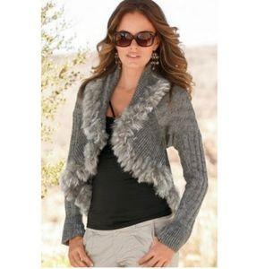 Boston Proper faux fur draped cardigan grey knit M
